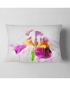 "Designart Purple Rose Illustration Watercolor Floral Throw Pillow - 12"" X 20"""
