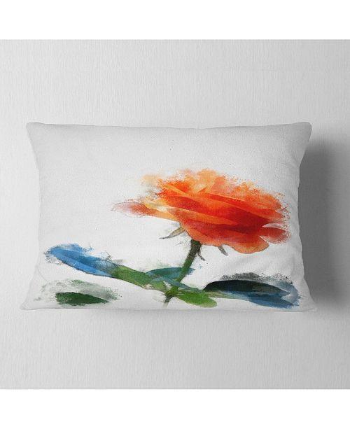 "Design Art Designart Orange Rose Flower With Splashes Floral Throw Pillow - 12"" X 20"""