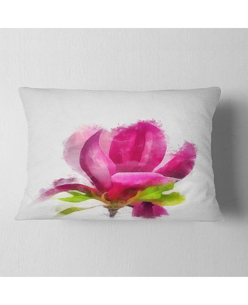 "Design Art Designart Full Bloom Pink Magnolia Flower Floral Throw Pillow - 12"" X 20"""