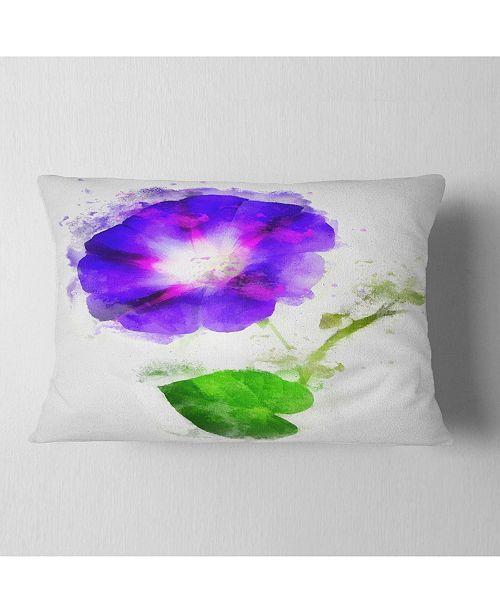 "Design Art Designart Blue Gentiana Alpina Illustration Floral Throw Pillow - 12"" X 20"""