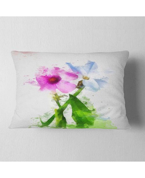 "Design Art Designart Purple Mallow And Blue Chamomile Floral Throw Pillow - 12"" X 20"""