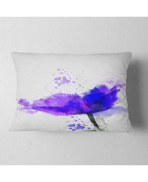 "Design Art Designart Beautiful Blue Anemone Sketch Floral Throw Pillow - 12"" X 20"""