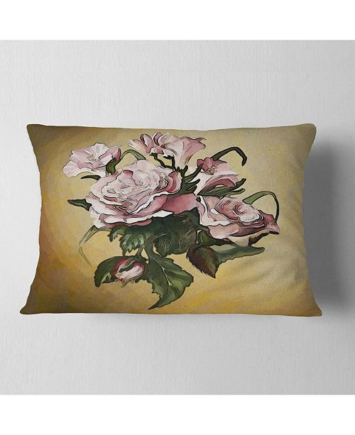"""Design Art Designart Pink Rose With Leaves Watercolor Floral Throw Pillow - 12"""" X 20"""""""