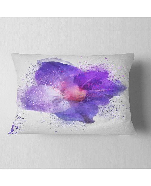 "Design Art Designart Large Petal Watercolor Blue Flower Floral Throw Pillow - 12"" X 20"""
