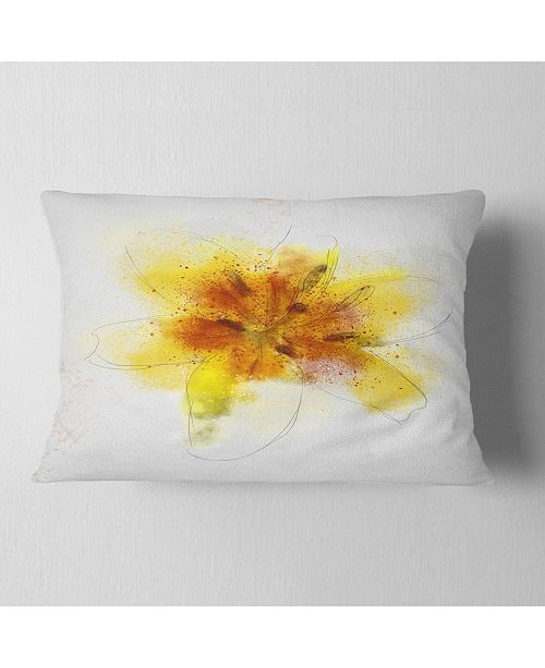 "Design Art Designart Yellow Flower Sketch On White Flower Throw Pillow - 12"" X 20"""