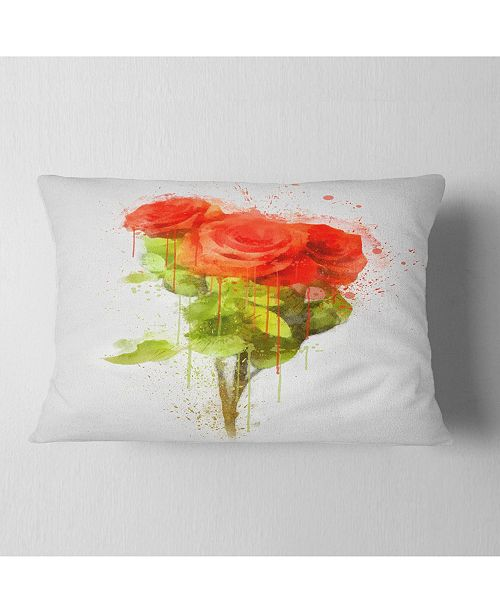 "Design Art Designart Bunch Of Red Roses Watercolor Flower Throw Pillow - 12"" X 20"""