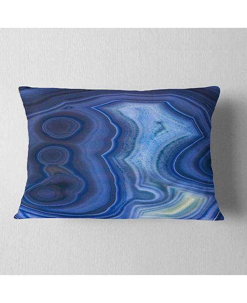 "Design Art Designart Blue Agate Stone Design Abstract Throw Pillow - 12"" X 20"""