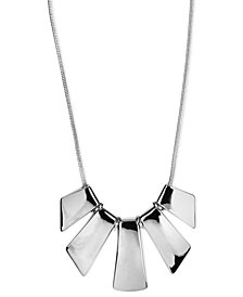Nine West Necklace, Silver-Tone Five-Plate Frontal Necklace