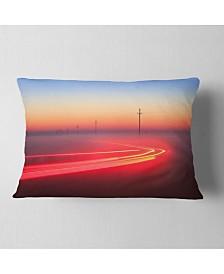 "Designart Barcelona Street Traffic Trail Throw Pillow - 12"" X 20"""