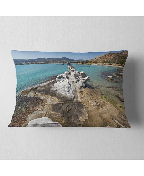 """Design Art Designart Clean Waters And Rock Formations Landscape Printed Throw Pillow - 12"""" X 20"""""""
