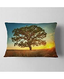 "Designart Big Green Tree In Summer Field Trees Throw Pillow - 12"" X 20"""