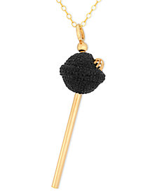 SIS by Simone I Smith 18k Gold over Sterling Silver Necklace, Black Crystal Mini Lollipop Pendant
