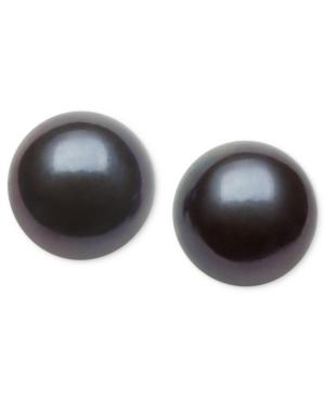 Belle de Mer Pearl Earrings, 14k Gold Dyed-Black Cultured Freshwater Pearl Stud Earrings (9mm)