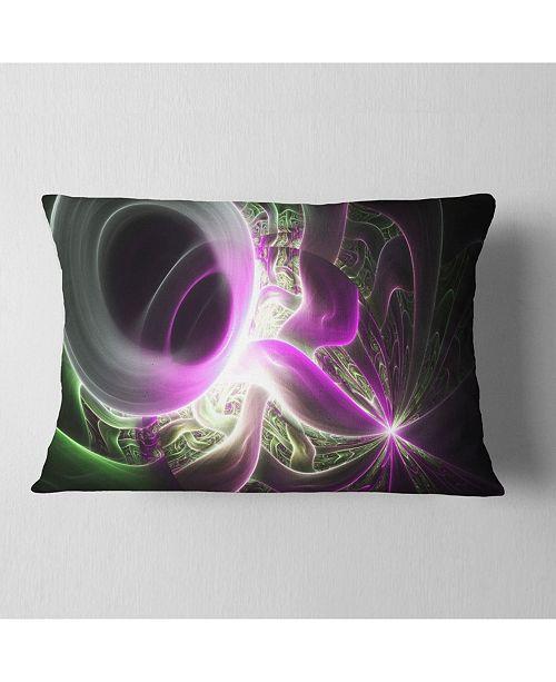 "Design Art Designart Light Purple Designs On Black Abstract Throw Pillow - 12"" X 20"""