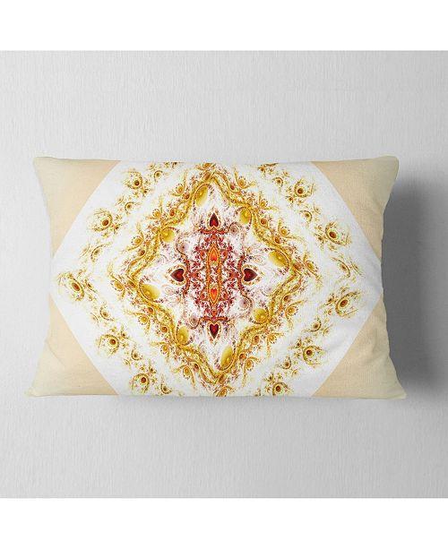 """Design Art Designart Yellow Rhombus Fractal Design Abstract Throw Pillow - 12"""" X 20"""""""