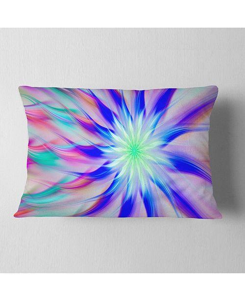 """Design Art Designart Exotic Blue Fractal Spiral Flower Abstract Throw Pillow - 12"""" X 20"""""""