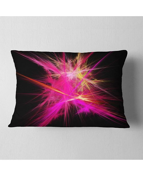 "Design Art Designart Pink Fractal Chaos Multicolored Rays Abstract Throw Pillow - 12"" X 20"""
