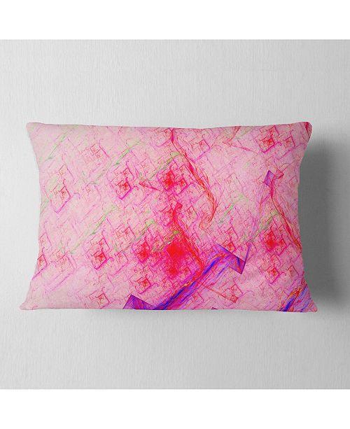 """Design Art Designart Pink Fractal Electric Lightning Abstract Throw Pillow - 12"""" X 20"""""""