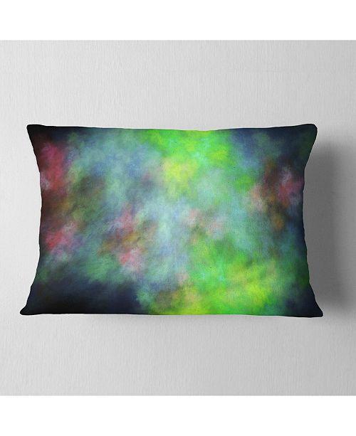"Design Art Designart Green Blue Sky With Stars Abstract Throw Pillow - 12"" X 20"""
