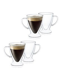 Declan Irish Coffee Double Wall Insulated Mugs, Set of 4