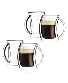 Caleo Double Wall Insulated Espresso Glasses, Set of 4