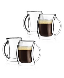 JoyJolt Caleo Double Wall Insulated Espresso Glasses, Set of 4