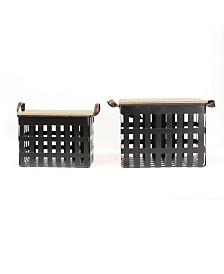 Stratton Home Decor Metal Storage Baskets with Wood Tops Set of 2