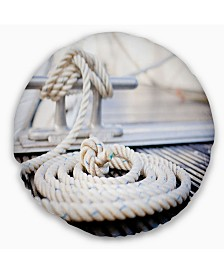 "Designart White Nautical Mooring Rope Modern Landscape Printed Throw Pillow - 20"" Round"