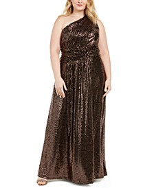 Plus Size One-Shoulder Metallic Gown