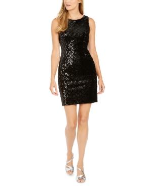 Sequined Velvet Sheath Dress In Black