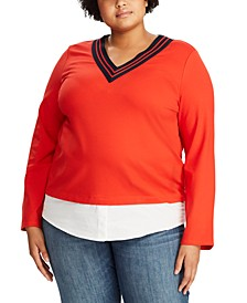 Plus Size Stripe-Trim Layered Cricket Top