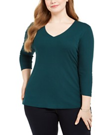 I.N.C. Plus Size Ribbed V-Neck Top, Created For Macy's