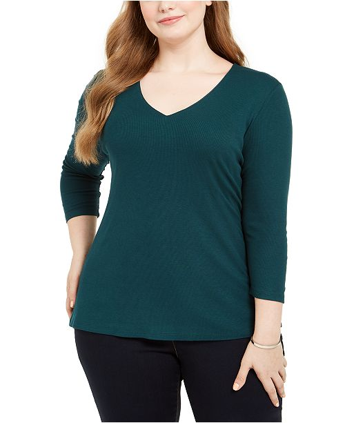 INC International Concepts INC Plus Size Ribbed V-Neck Top, Created For Macy's