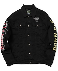 Born Fly Men's Big & Tall Embroidered Denim Jacket