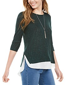 Juniors' Ribbed Layered-Look Sweater