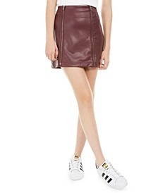 Juniors' Faux-Leather Zipper Mini Skirt