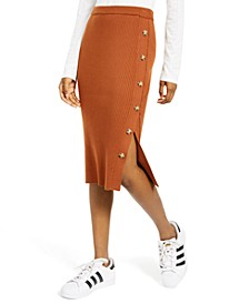 Juniors' Button Sweater Skirt