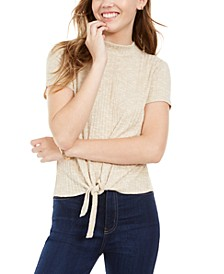 Juniors' Mock-Neck Tie-Front Ribbed Top