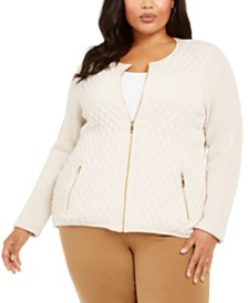 Charter Club Plus Size Quilted Zip-Up Sweater, Created For Macy's