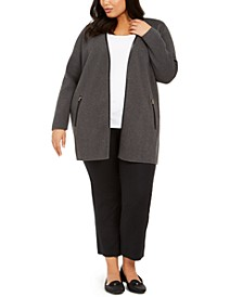 Plus Size Milano Zip-Pocket Cardigan, Created For Macy's