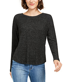 Crave Fame Juniors' Cozy Twist-Back Ribbed Top