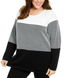 Karen Scott Plus Size Colorblocked Cotton Sweater, Created For Macy's