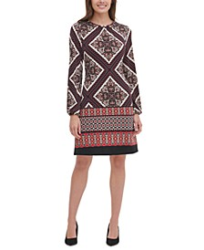 Patchwork-Print A-Line Dress