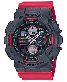 Men's Analog-Digital Red Resin Strap Watch 51.2mm