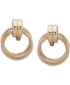 Anne Klein Rope-Detail Clip-On Doorknocker Earrings