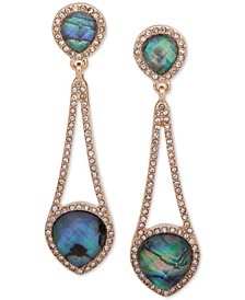 Gold-Tone Stone & Crystal Chain Drop Earrings