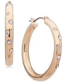 """Small Gold-Tone Crystal Sprinkle Hoop Earrings 1"""""""