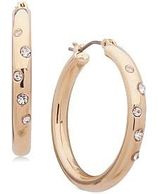 """Anne Klein Small Gold-Tone Crystal Sprinkle Hoop Earrings 1"""""""