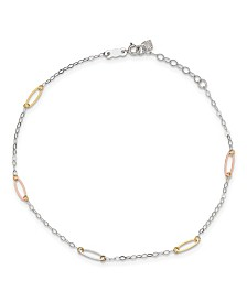 Oval Link Anklet in 14k White, Yellow and Rose Gold