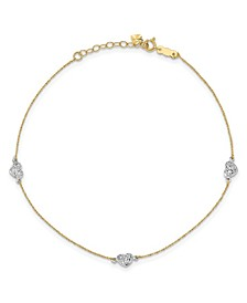 "Puff Heart Anklet with 1"" Anklet in 14k Yellow and White Gold"